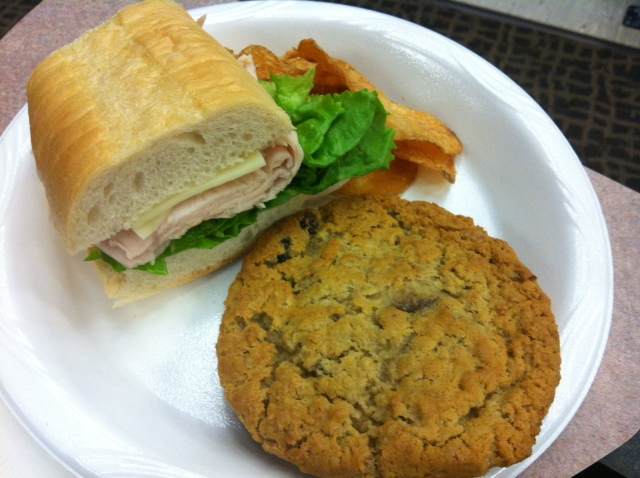 Friday's lunch talk had food catered in.  That cookie was definitely bigger than my sandwich.  And I definitely had 2 of them.
