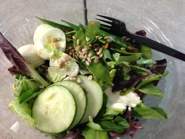 Salad from the cafeteria.  Super expensive and super not filling! haha