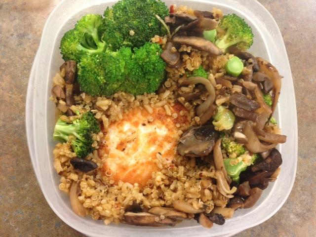 Lunch last week- salmon, veggies, and qunioa