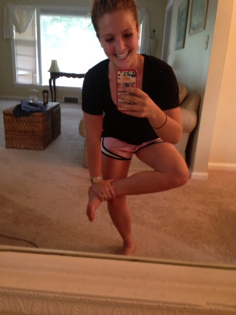My hips are sore!!! This stretch feels oh so good.