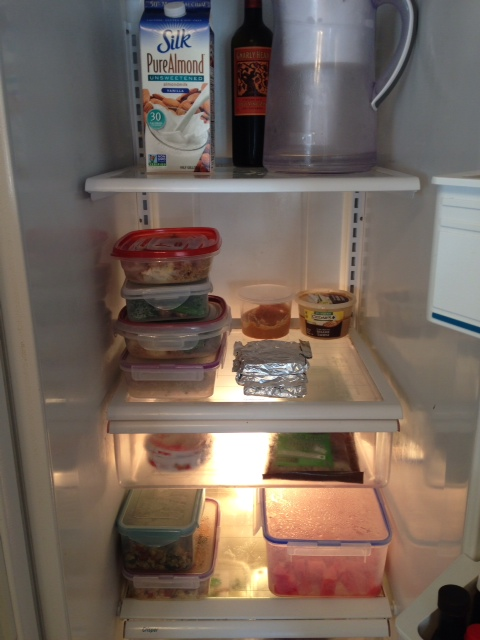 Food prep Sunday complete!!  My fridge is ready for the week!  P.S. That wine has been sitting in there for months...