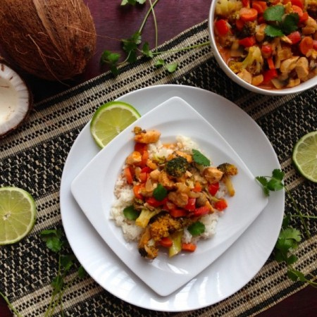 Healthy coconut, chicken, and vegetable curry recipe