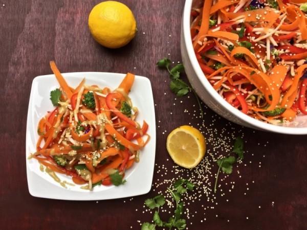 carrot salad with lemon tahini dressing