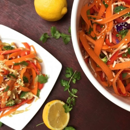 carrot salad with lemon tahini dressing